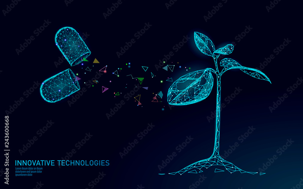 Fototapeta Plant sprout biotechnology abstract concept. 3D render seedling tree leaves DNA genome engineering vitamin supplement. Medical science life eco polygon triangles low poly vector illustration