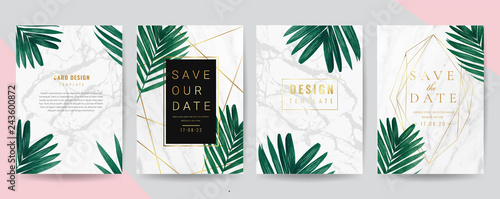 Photo  Wedding invitation cards with marble texture background,Gold geometric Shape line and Tropical Leaves design vector collection