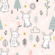 Seamless Vector Background With Rabbits