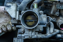 Close-up Of The Engine, Throttle, Raditor. Engine Breakdown: Contaminated Throttle Of An Old Car
