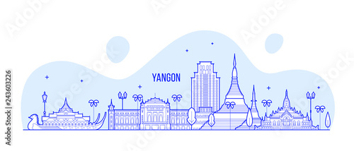 Fotografering Yangon Rangoon skyline Myanmar city vector linear