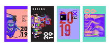 2019 New Poster Design Template. Trendy Vector Typography And Colorful Illustration Collage For Cover And Page Layout Design Template In Eps10