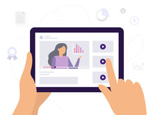 People Learn Using Online Video Courses, Watching A Video With Infographics. Banner Or Background For A Site With A Distance Education Theme. Vector Illustration