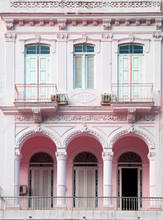 Pink Pastel Building In Havana In Cuba