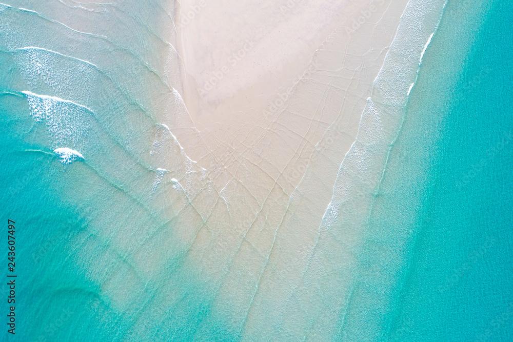 Fototapety, obrazy: Aerial view Idyllic white sand sea beach turquoise water