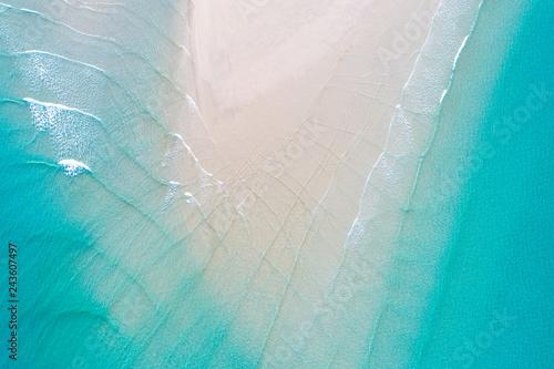 fototapeta na szkło Aerial view Idyllic white sand sea beach turquoise water