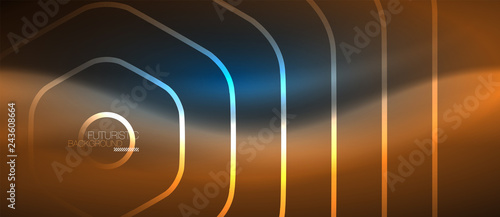 Neon glowing lines, magic energy space blue light concept, abstract background wallpaper design