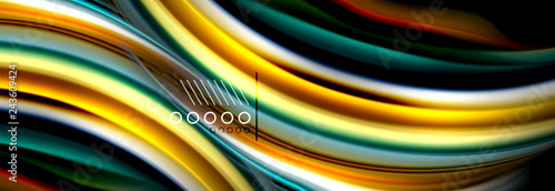 Rainbow color fluid wave lines flow poster. Wave Liquid shapes design