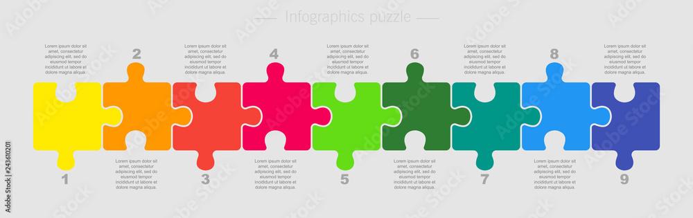 Fototapeta Puzzle Nine Pieces Part for Business Presentation.