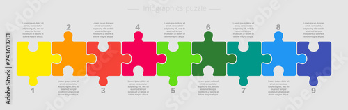Obraz Puzzle Nine Pieces Part for Business Presentation. - fototapety do salonu