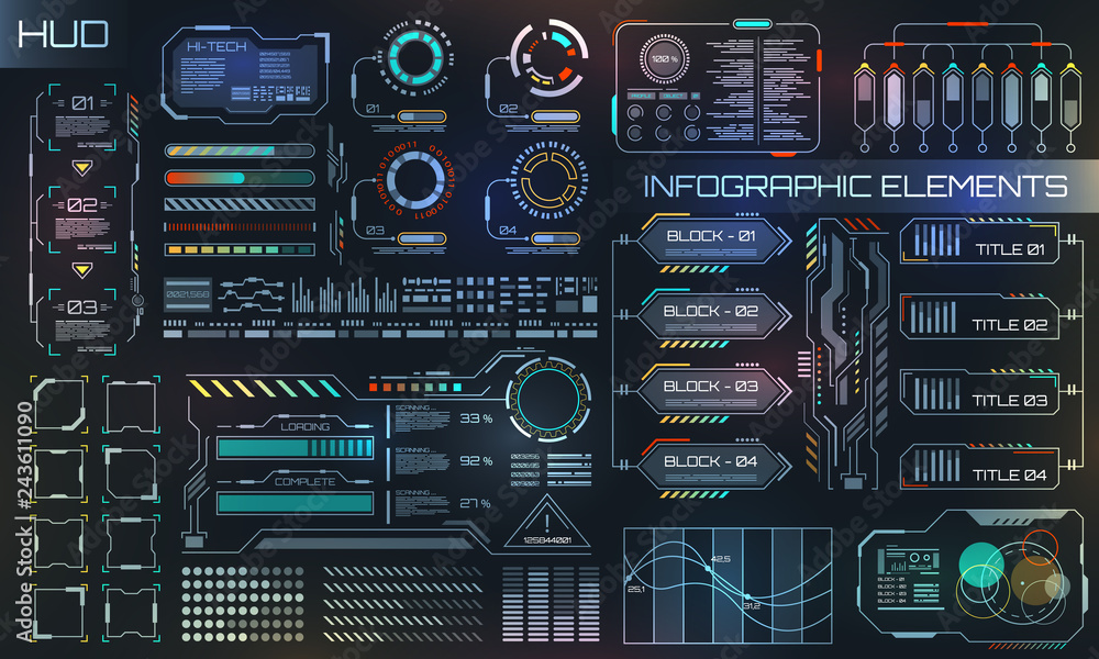 Fototapety, obrazy: HUD UI for Business App. Futuristic User Interface HUD and Infographic Elements