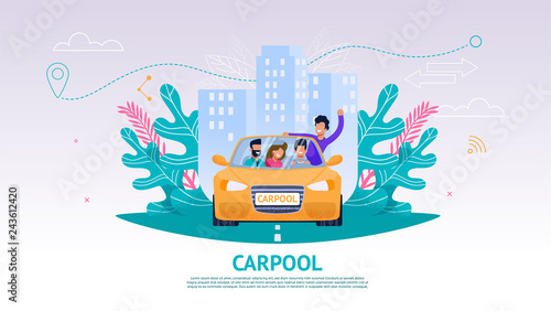 Papiers peints Cartoon voitures Illustration Happy Company People in Car, Carpool