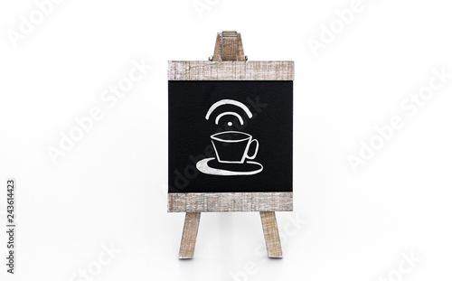 Valokuva  Tafel mit Kaffeetasse und Internetsymbol