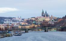 Prague, Czech Republic, Vltava Embankment. View Of Hradcany Castle.