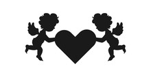 Silhouette Of Two Amour Cupid Babies, Symbol Ancient Mythology Angle Holding Heart Isolated On White Background For Decorate On Valentine's Day, Vector Illustration.