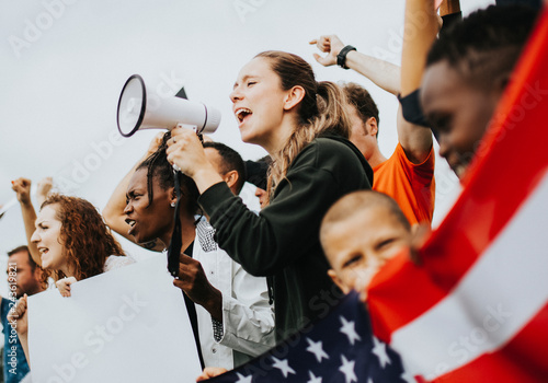 Fototapeta Group of American activists is protesting obraz