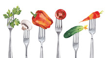 A Set Of Healthy Vegetables, Such As Cucumber, Carrots, Paprika, Parsley, Champignon, Tomato, Impaled On Forks.