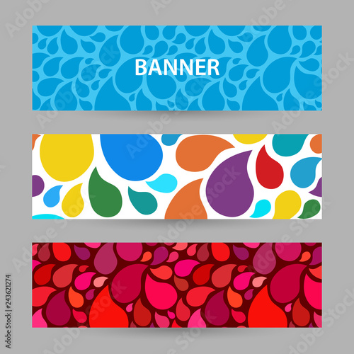 Finding Some Spots Of Bright Color At >> Abstract Bright Banner With Drops Of Water Bright Colors And Red