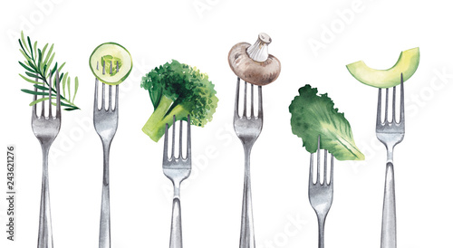 Fototapeta  Vegetables, such as a slice of avocado, cucumber, lettuce, greens, champignon, impaled on forks