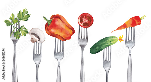 Tela  A set of healthy vegetables, such as cucumber, carrots, paprika, parsley, champignon, tomato, impaled on forks