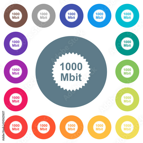 Fotografía  1000 mbit guarantee sticker flat white icons on round color backgrounds