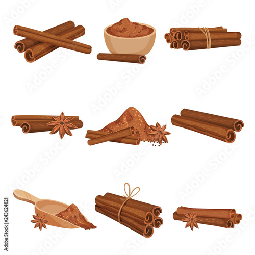 Fototapeta Flat vector set of rolled cinnamon sticks and powder. Aromatic condiment for food and drinks. Fragrant spice obraz