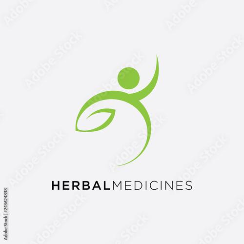 Medical cross and herbal leaf  medicine pharmacy logo  medical