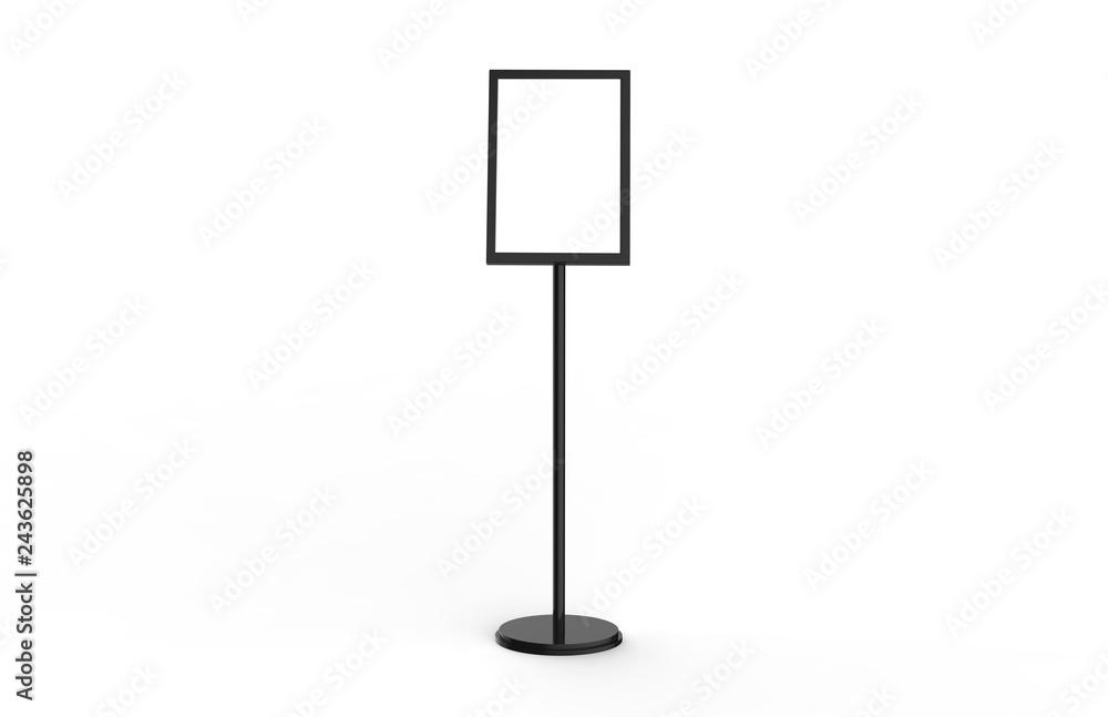 Fototapeta A3 Poster Stand Floor Display, Stands Snap Frame, Poster Board, Menu Holder, Advertisement Sign Stand On White Background, 3D Illustration