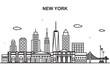New York City Tour Cityscape Skyline Line Outline Illustration