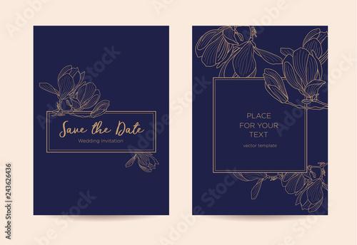 Canvas-taulu Elegant wedding invitation  with magnolia flowers