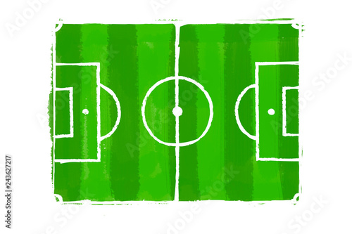 Fotografie, Obraz  The scheme and drawing of a football field on a white cardboard