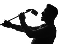 Silhouette Of Male Singer On W...