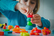 Leinwanddruck Bild - Child playing with clay molding shapes, kids crafts