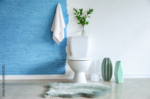 Fotomural  Modern interior of restroom with ceramic toilet bowl