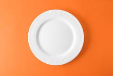 Empty Ceramic Plate On Color B...