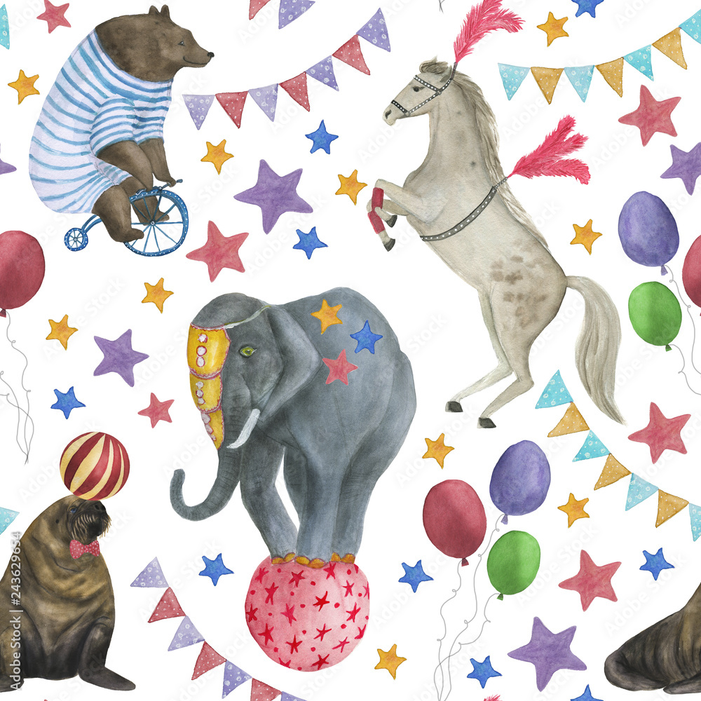 Watercolor painting seamless pattern with circus bear, horse, elephant, walrus, ball