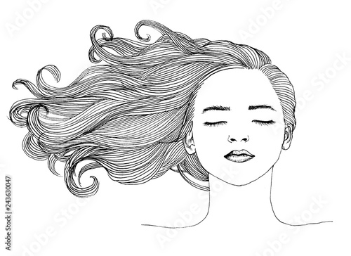 Art sketch of a beautiful girl with curly hair.