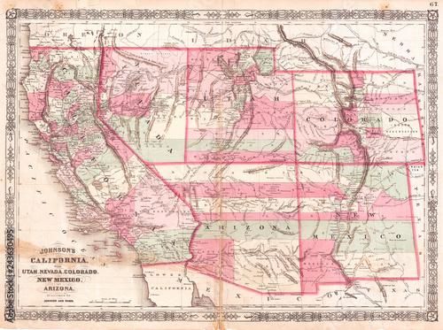 1864, Johnson Map of California, Nevada, Utah, Arizona, New ...