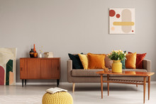 Retro Design In Trendy Living Room Interior Wooden Furniture And Comfortable Couch