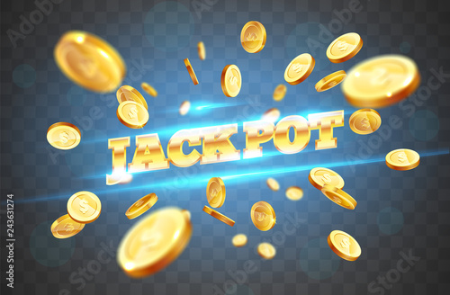 Fotografía  The gold word Jackpot, surrounded by attributes of gambling, on a coins explosion background