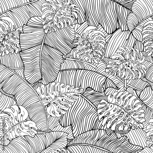 Cotton fabric Seamless pattern of exotic white banana leaves and monstera leaves with black outline. Decorative image with tropical foliage.