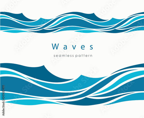 Marine seamless pattern with stylized waves on a light backgroun Wall mural