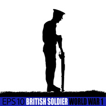 Wolrd War One British - UK Soldier Silhouette.