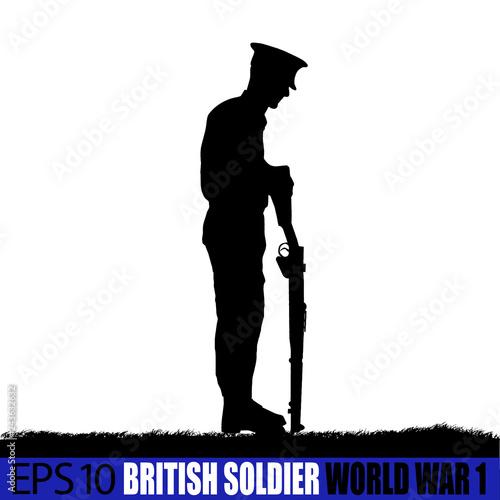 Fotografia Wolrd War one British - UK Soldier silhouette.
