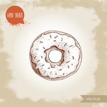 Hand Drawn Sketch Style Donut With Sprinkles. Bakery Good Top View With Icing Cream. Vintage Sweet Pastry Vector Illustration. Isolated On Old Background.