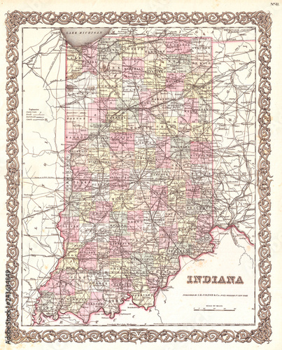 Fényképezés Old Map of Indiana, 1855, Colton