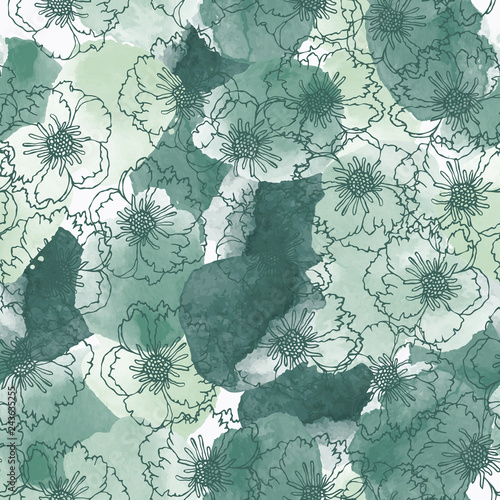 Poster Retro Abstract seamless pattern with colorful watercolor shapes and hand drawn flowers made in vector