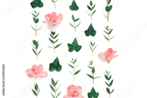 Spring Pattern With Soft Pink Azalea Flowers And Green Ivy Leaves