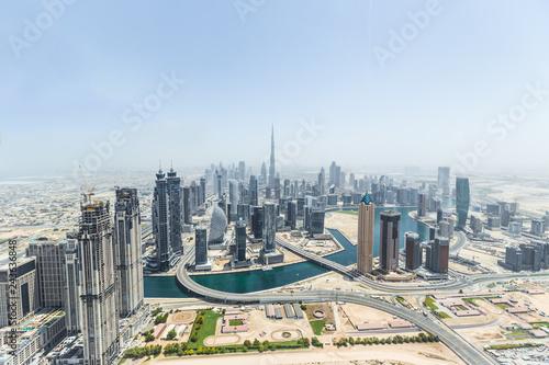 Tuinposter Aerial view of modern skyscrapers, Dubai, UAE.