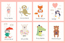 Set Of Valentines Day Cards Wi...